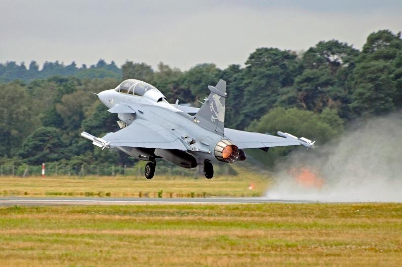 Gripen NG Demonstrator takes off from Farnborough, UK.
