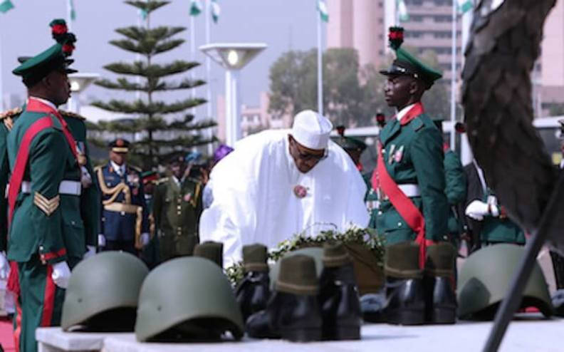 President-Buhari-performing-the-Wreath-Laying-ceremony-of-2017-Armed-Forces-Remembrance-Day-at-the-Arcade-in-Abuja...recently